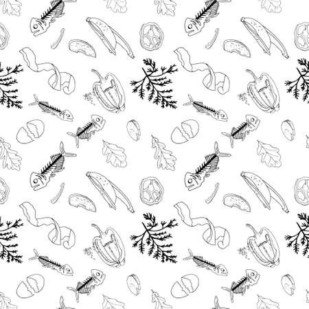 Outline seamless pattern with sorted organic garbage isolated on white. Part 7 of separate debris collection. Vector hand drawn set of trash. Concept of Recycles Day, World Cleanup Day and ecology.