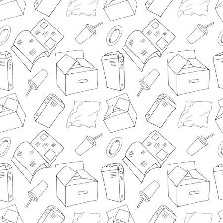 Outline seamless pattern with sorted paper garbage isolated on white. Part 5 of separate debris collection. Vector hand drawn set of trash. Concept of Recycles Day, World Cleanup Day and ecology.