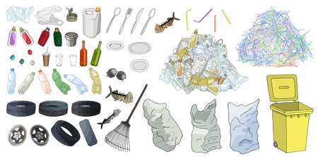 Large set of garbage on white background. Hand drawn vector illustration.
