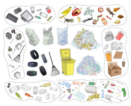 Large set of sorted garbage on white background. Hand drawn vector illustration.