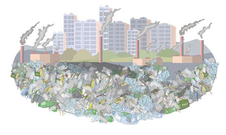 Environmental disaster of plastic debris in the city. The problem of cleaning and separation of garbage. Air pollution by plants and factories. The concept of ecology. 矢量图像