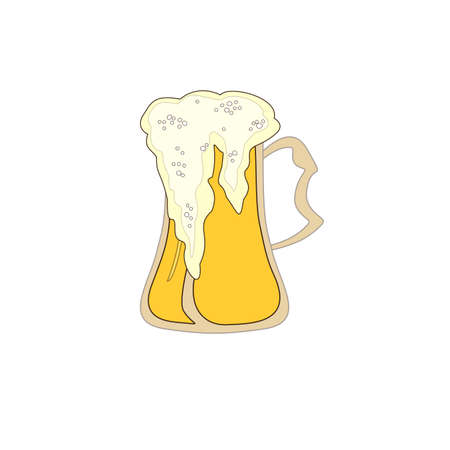Fresh kvass, beer icon. Outline with color fresh kvass, beer vector icon for web design isolated on white background Vettoriali