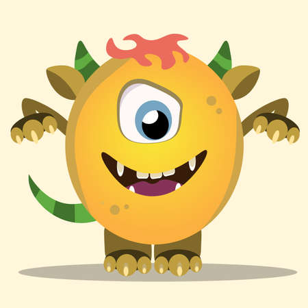 Angry cartoon monster. Halloween vector yellow and horned monster