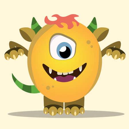 Monstre de dessin animé en colère. Halloween monstre jaune et corne de vecteur