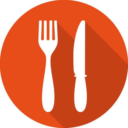 Icono de los alimentos. El almuerzo icono. Tenedor y el icono del cuchillo. Almuerzo