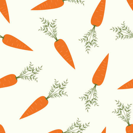 summer vegetable: Seamless pattern with orange carrots on white background. Vegetable summer pattern, colorful print for design.