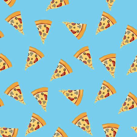 Pizza slice seamless pattern Illustration