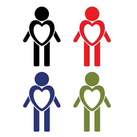 A set of men in different colors with a dedicated heart. Icons: Love, health and assistance