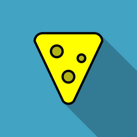 Piece of cheese simple vectorial geometric icon on a blue background