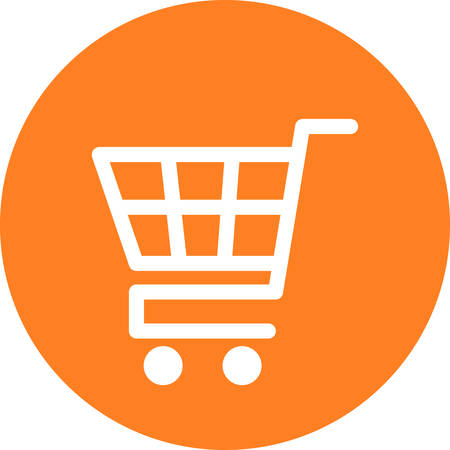 Supermarket shopping cart vector round orange trade icon