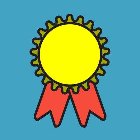 Medal vector simple cartoon color badge winner