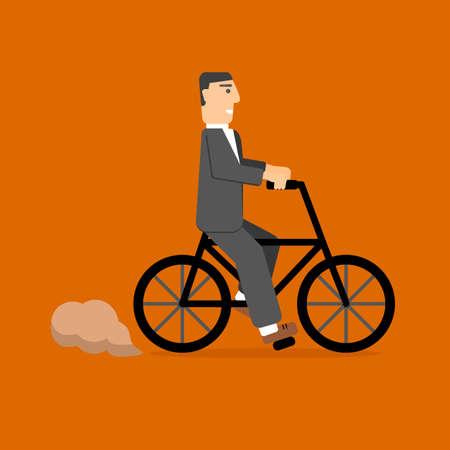 businessman on bicycle. eco lifestyle. transportation Illustration