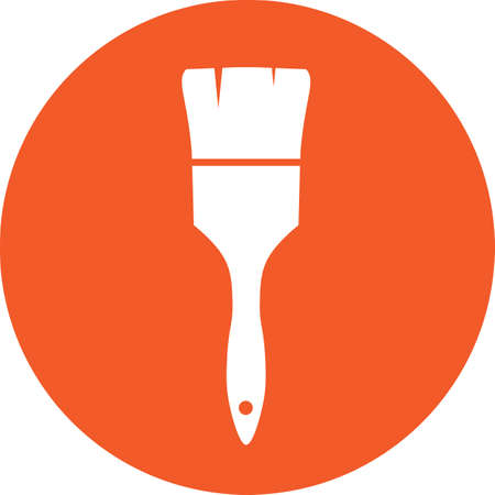 Paint brush sign icon. Artist symbol. Graphic design element. Flat brush symbol on the round button. Vector