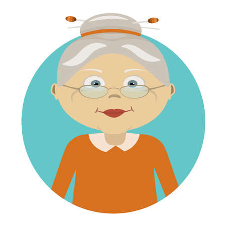 Old woman with glasses. Icon of person. Flat icon of grannys face. The character. Avatar for web.