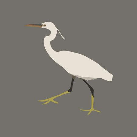 White heron on a gray background. Bird Icon