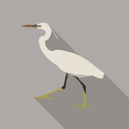 White heron on a gray background with a long shadow. The bird is a flat design icon.