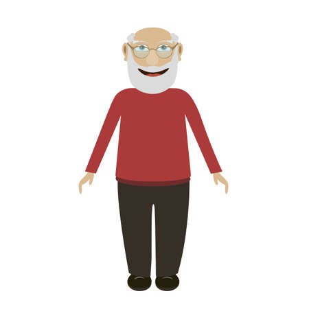 Cartoon elderly man in glasses and with a beard stands and smiles a flat vector character. Vector illustration of a smiling grandfather in a flat style