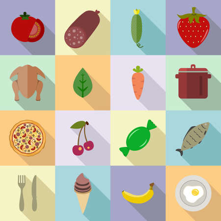 banana: Food set of various icons on cooking. Fruits, vegetables, berries, meat set of colored icons with long shadow on a colored background