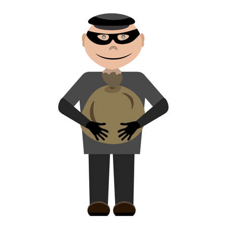 A cartoon thief wearing a black mask and a cap with a bag of money in his hands. Bandit holds a cute bag character Illustration