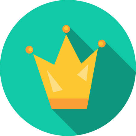 crown colored round icon with long shadow