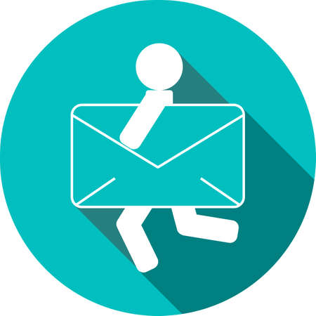email icon: envelope and person icon. express mail delivery icon