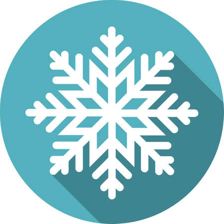 Snowflake round icon with a long shadow, vector illustration. Çizim