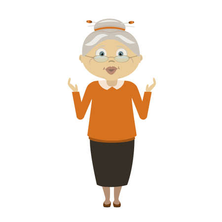 Old woman surprised and scared vector character