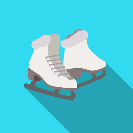 Skates color simple icon with long shadow.