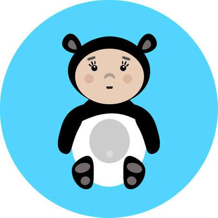 baby in panda costume illustration
