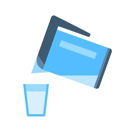 Icono vertido de una jarra en un vaso