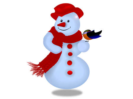 Snowmen on a white background Stock Photo - 16176413