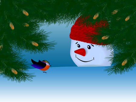 Tree, bird and snowman photo