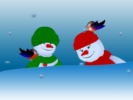 Snowmen and Birds photo