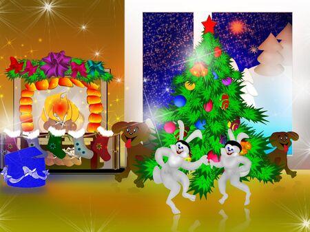 animals are happy Christmas photo