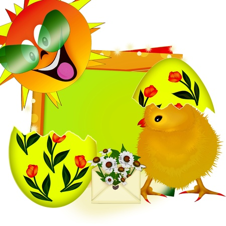 Easter card. Yellow chicken and egg photo