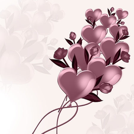 Illustration of balloons and flowers tulips illustration