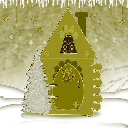 Toy. House. Christmas Tree. Illustration. Christmas card. illustration