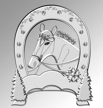 signifier: Illustration of a horseshoe. Horse. Stock Photo
