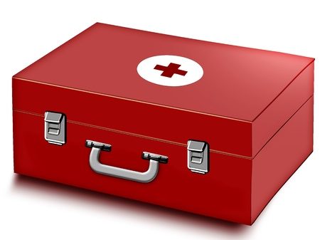 First aid kit isolated on white background Standard-Bild