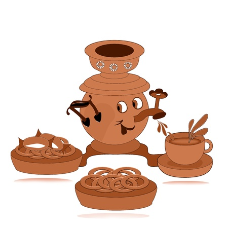 Illustration. Samovar. Cup. Saucer. Bagel. Objects on a white background. Raster. illustration