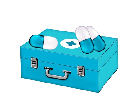 Suitcase ambulance and capsules on white background photo