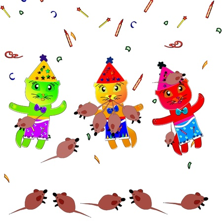 mouser: Cats and mice  Illustration  White background with elements