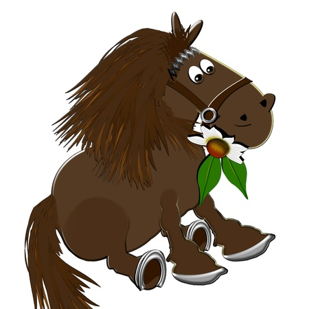 steed: Illustration of a horse with a flower on a white background