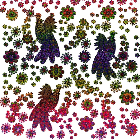 Illustration background of flowers and birds. illustration
