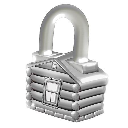 deadbolt: House. Lock. Illustration.