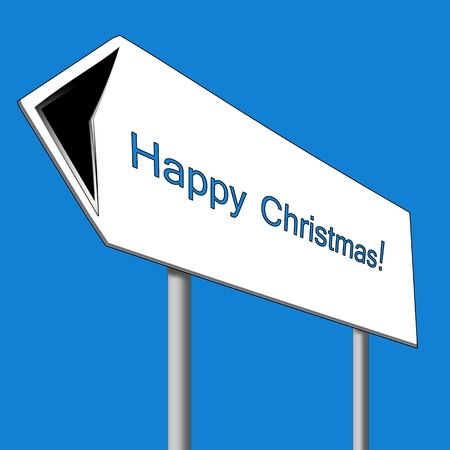 Christmas. Road sign. Illustration. illustration