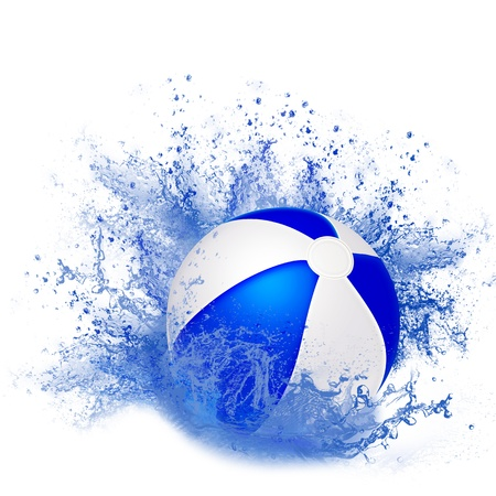 Inflatable ball in a spray of water. Illustration. illustration
