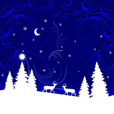 Winter landscape. Christmas. Illustration. illustration