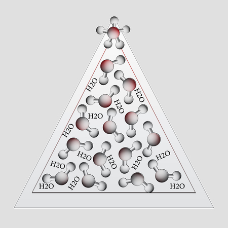 Christmas tree made of water molecules. Illustration. illustration
