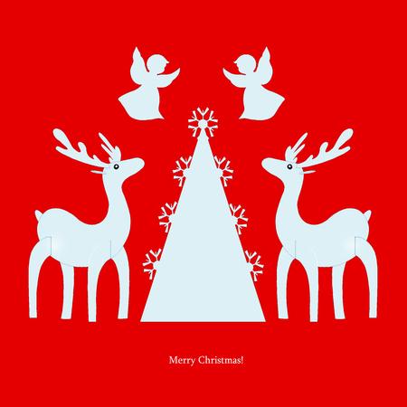 Deer. Angel. Christmas tree. Christmas. Illustration. illustration